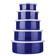 Conjunto De Potes Euro Home Aghata Colors 5 Peças Azul