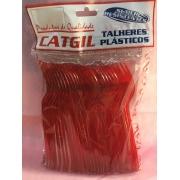 Garfo  Refeição C/50  Vermelho -Catigil