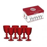Jogo com 6 taças em vidro vermelho para água Elegance 320ml - Hauskraft