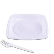 Kit  Festa Quadrado -10 pratos e 10 garfos- Prafesta