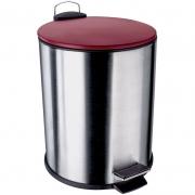 Lixeira Inox com Pedal 5 L - Euro Home - Vermelho