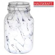Pote vidro Quadrado Mármore Marble com tampa hermetica e fecho 2 litros
