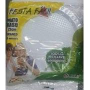 Pra Para Refeição 22 cm - 100% reciclavel  Branco- 50 un