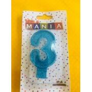 Vela De Aniversário Glitter Número  3- kit com 4