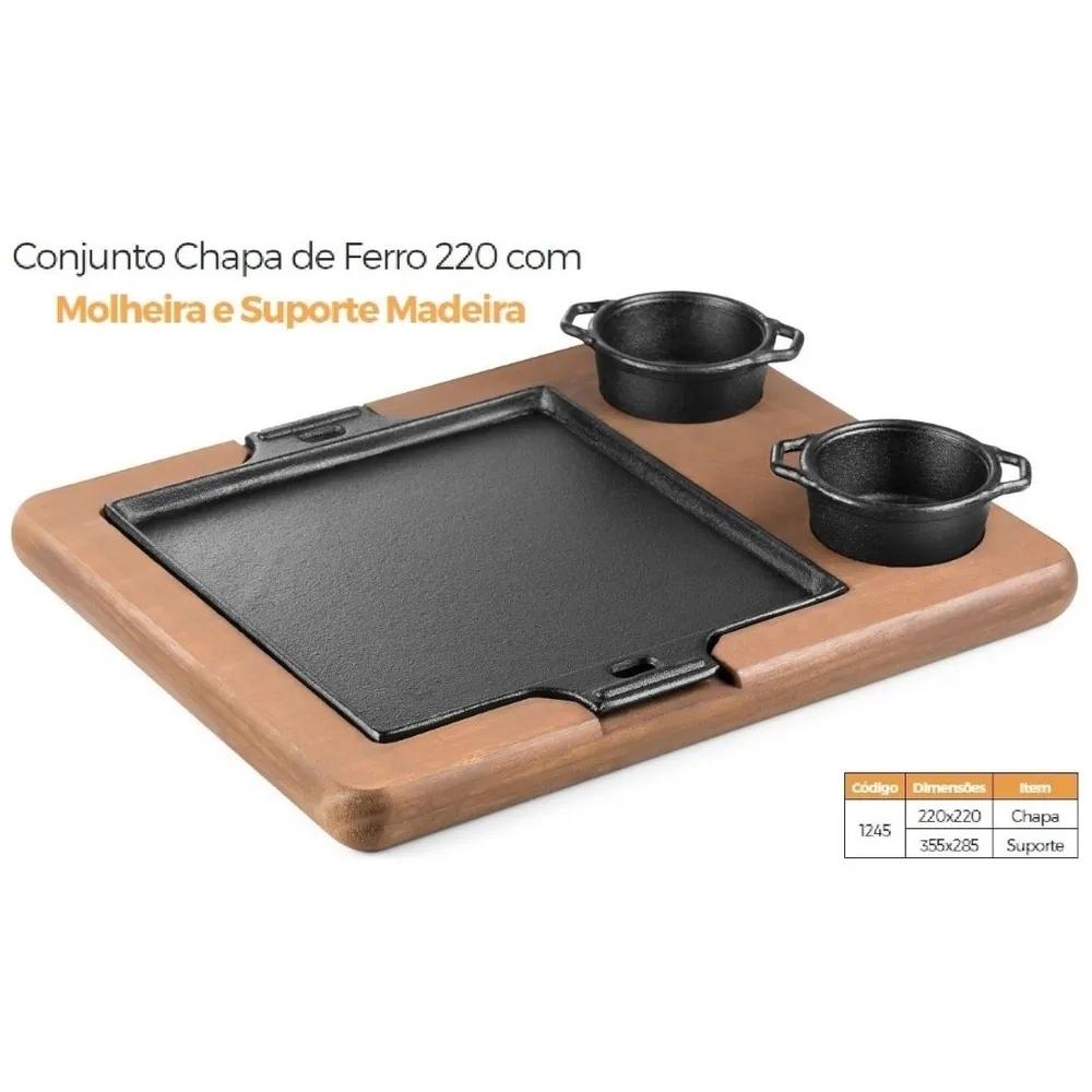 Chapa De Ferro + Suporte + Cumbucas Para Restaurante Fu1245