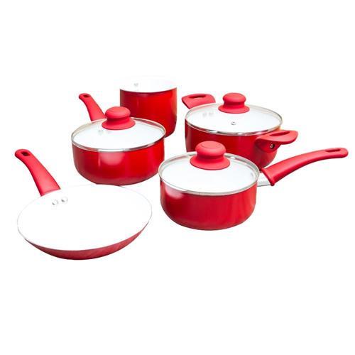 Jogo De Panelas Cerâmica 5 Peças Vermelho 2,0mm Class Home
