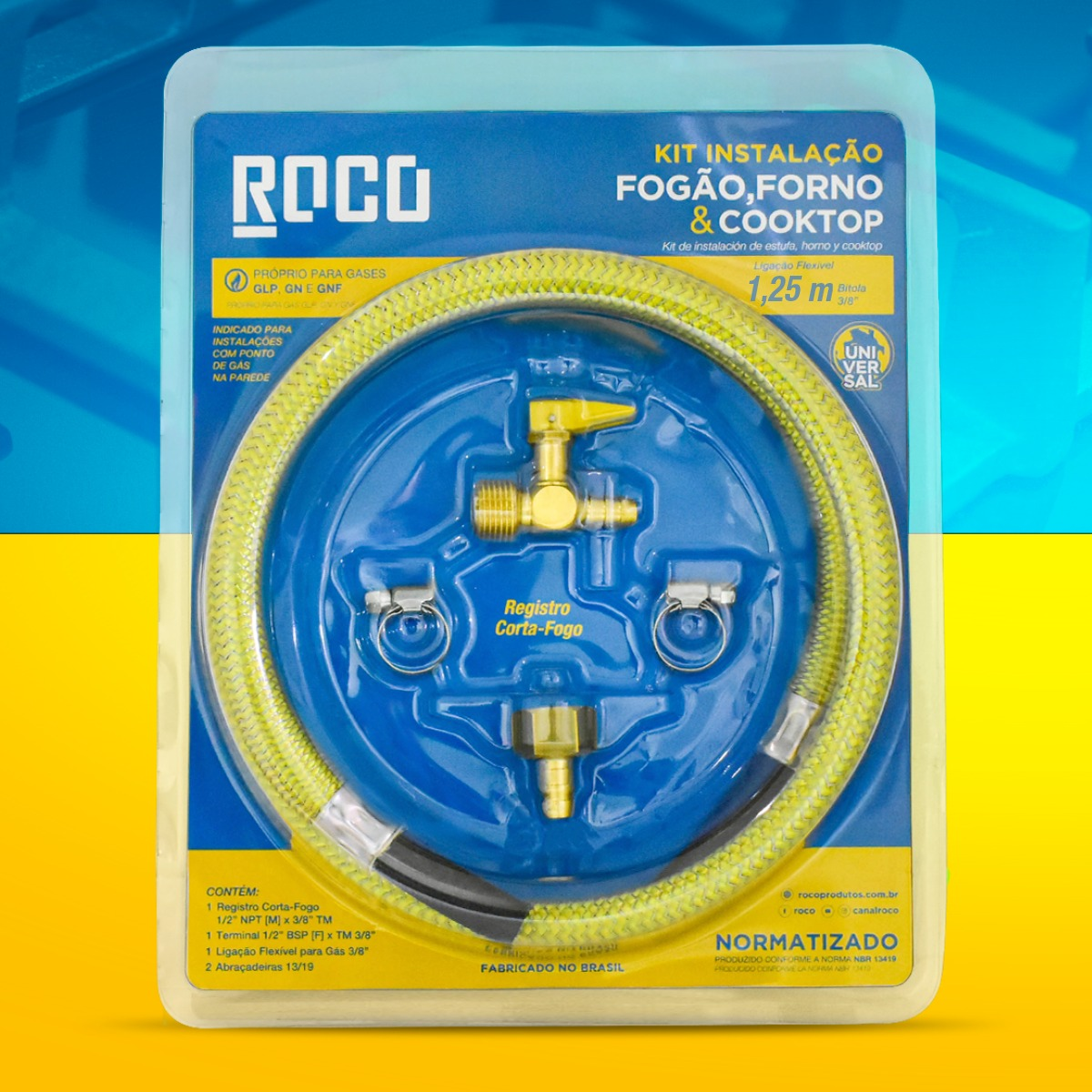 kit de Mangueira Gás 1,25m Aço Flexível 3/8 Nbr 13419 - Roco