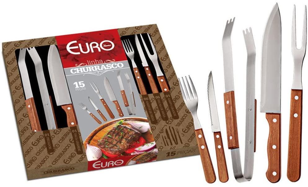 Kit para Churrasco com Cabo 15 Peças Euro Madeira