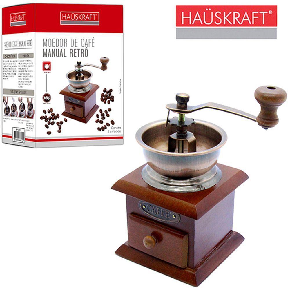 maquina / moedor de graos de cafe de madeira / metal manual retro com manivela hauskraft