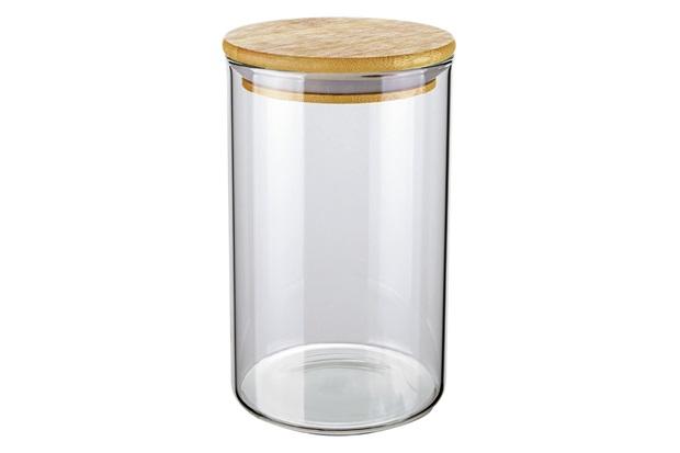 Pote de Vidro com Tampa em Bambu Slim 1 Litro