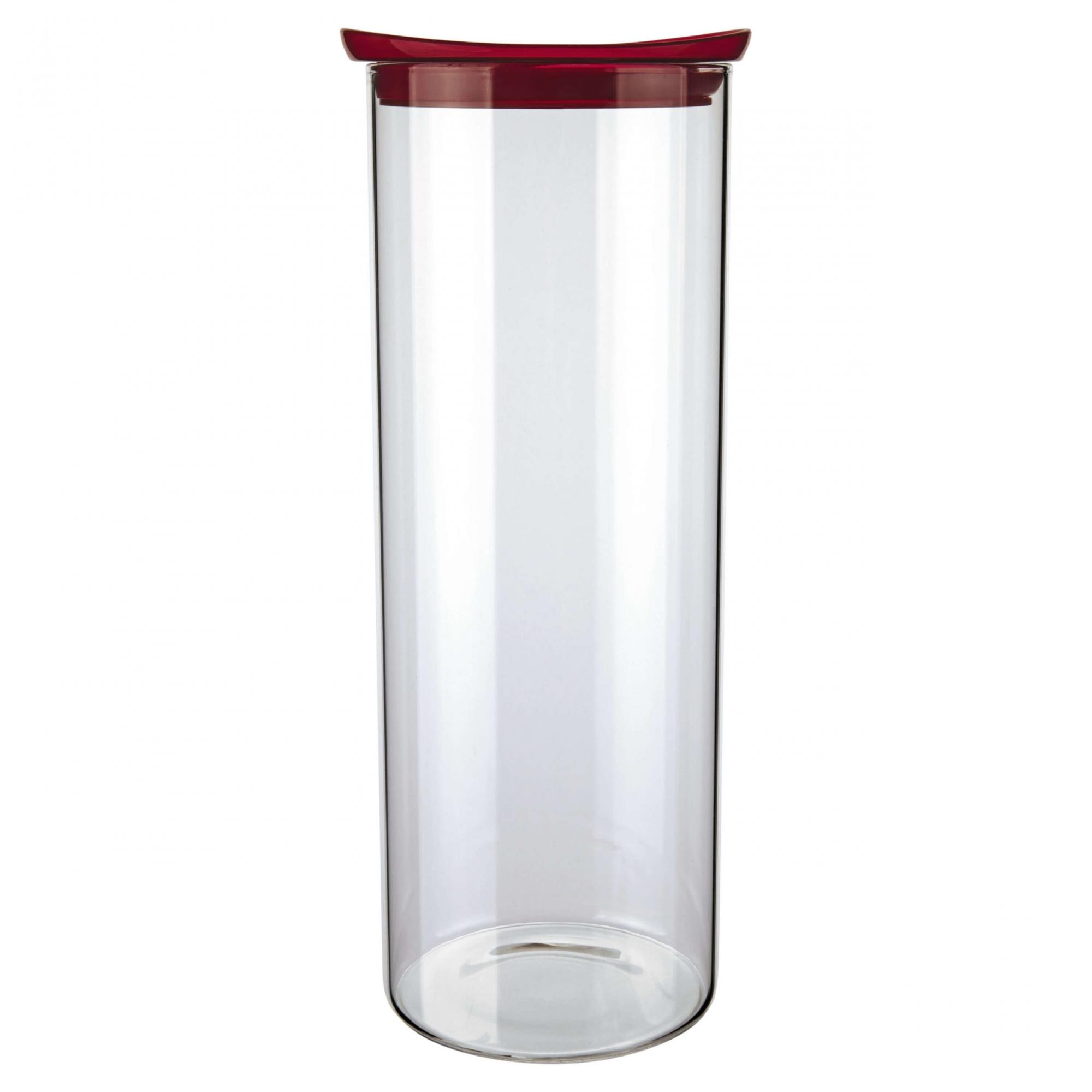 Pote de vidro Slim com tampa plástica 1,7 L vermelho