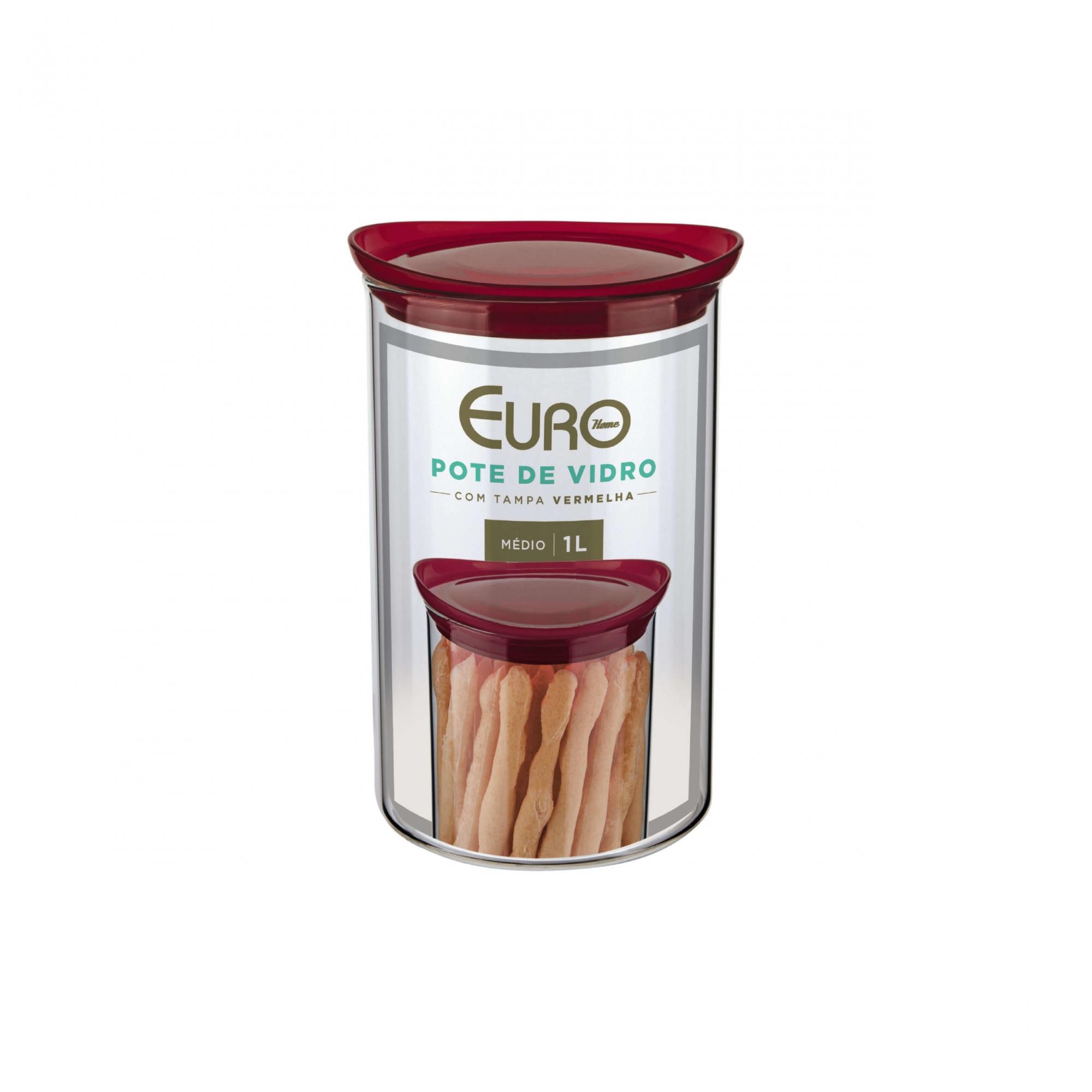 Pote de vidro Slim com tampa plástica 1 L vermelho