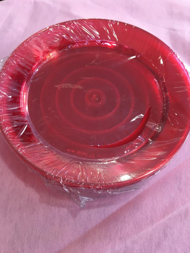 Prato Para Refeição 21 cm -Acrilico vermelho- com 50 unidades