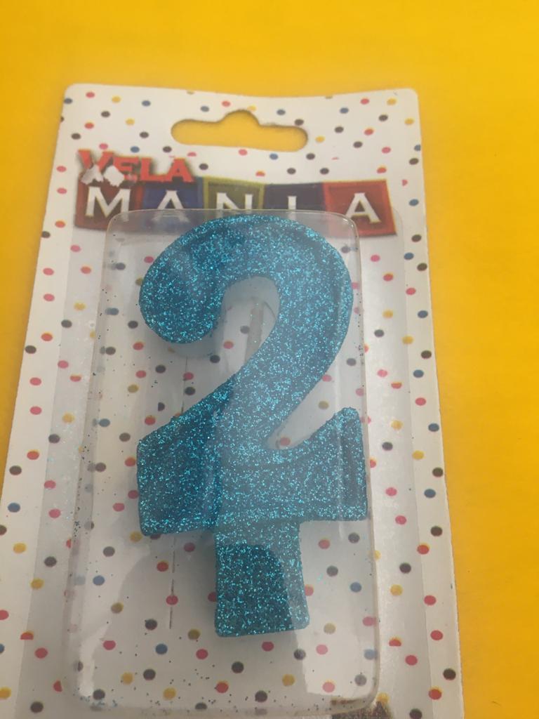 Vela De Aniversário Glitter Número  2- kit com 4