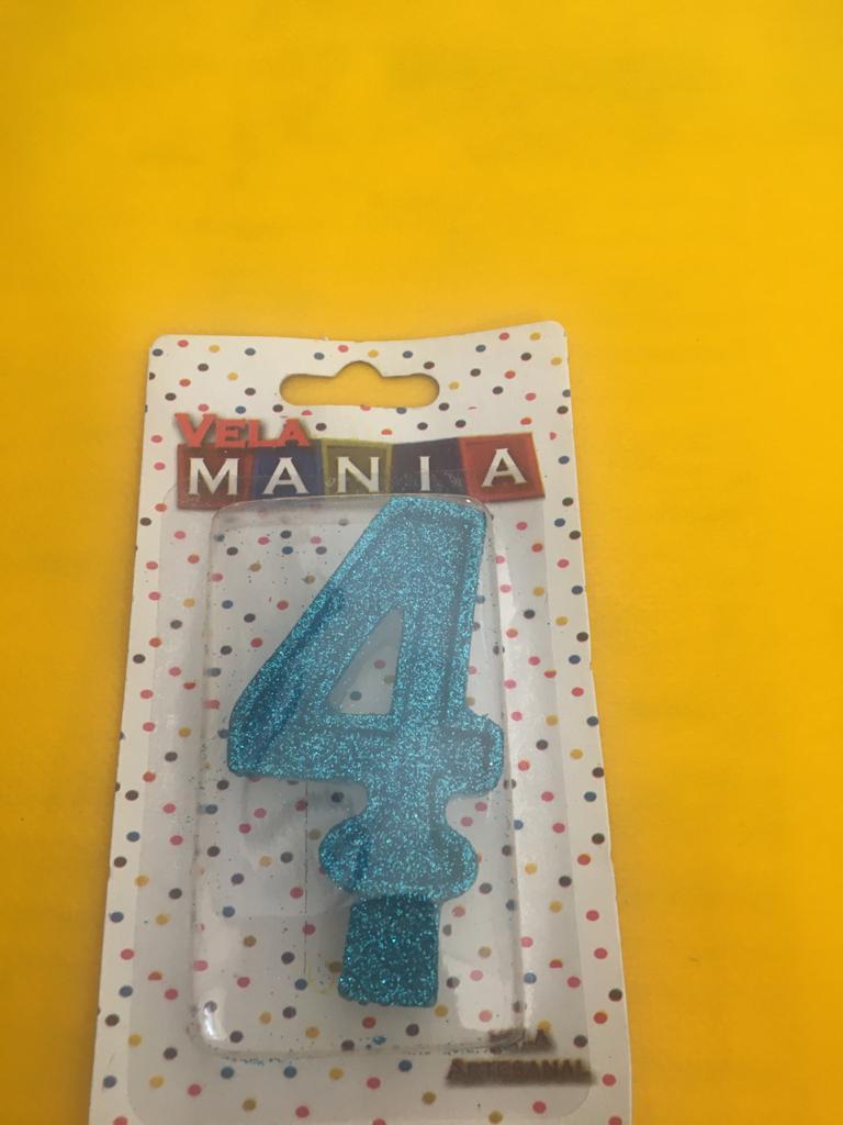 Vela De Aniversário Glitter Número  4- kit com 4