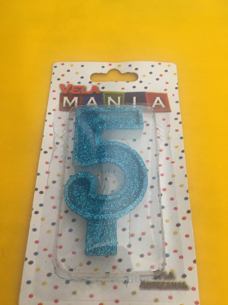 Vela De Aniversário Glitter Número  5- kit com 4