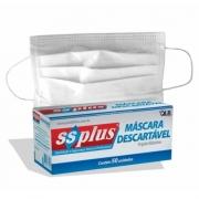 Máscara descartável tripla camada elástico c/ clipe nasal branca - Ssplus