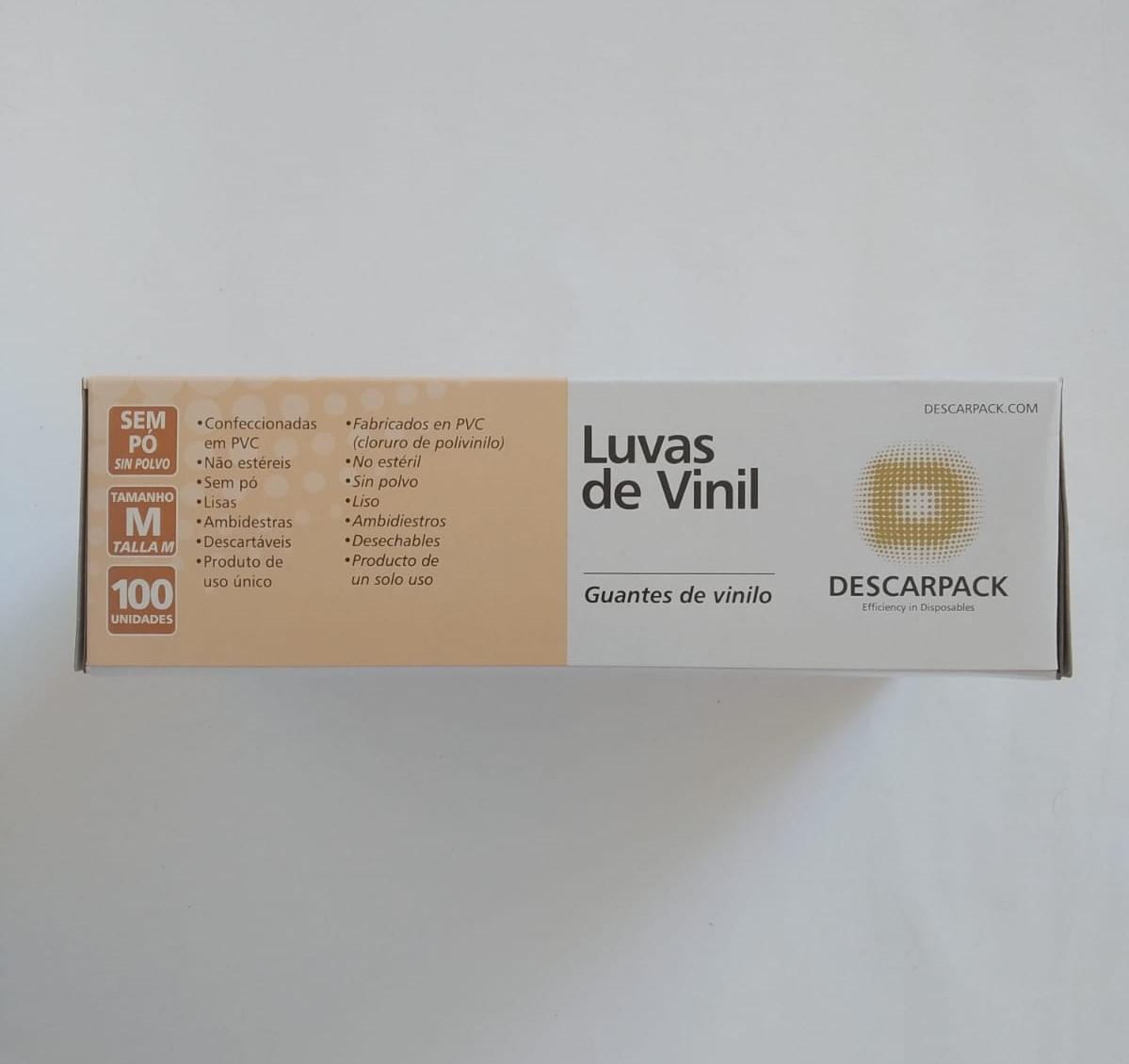 Caixa Master Luva Vinil sem pó 100und Tam:M / 20 cartuchos - Descarpack