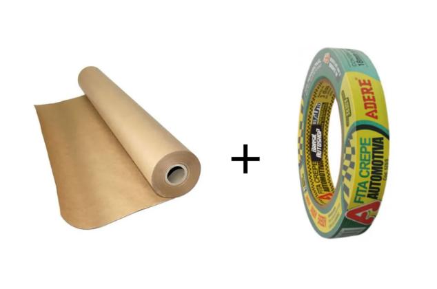 Kit Papel Mascaramento + Fita crepe automotiva
