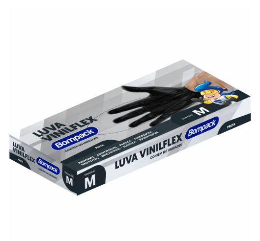 LUVA VINILFLEX SEM PO C/100 PRETA - BOMPACK