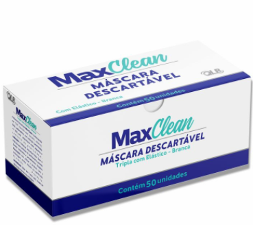 Máscara descartável tripla com clipe nasal 50und - Maxclean