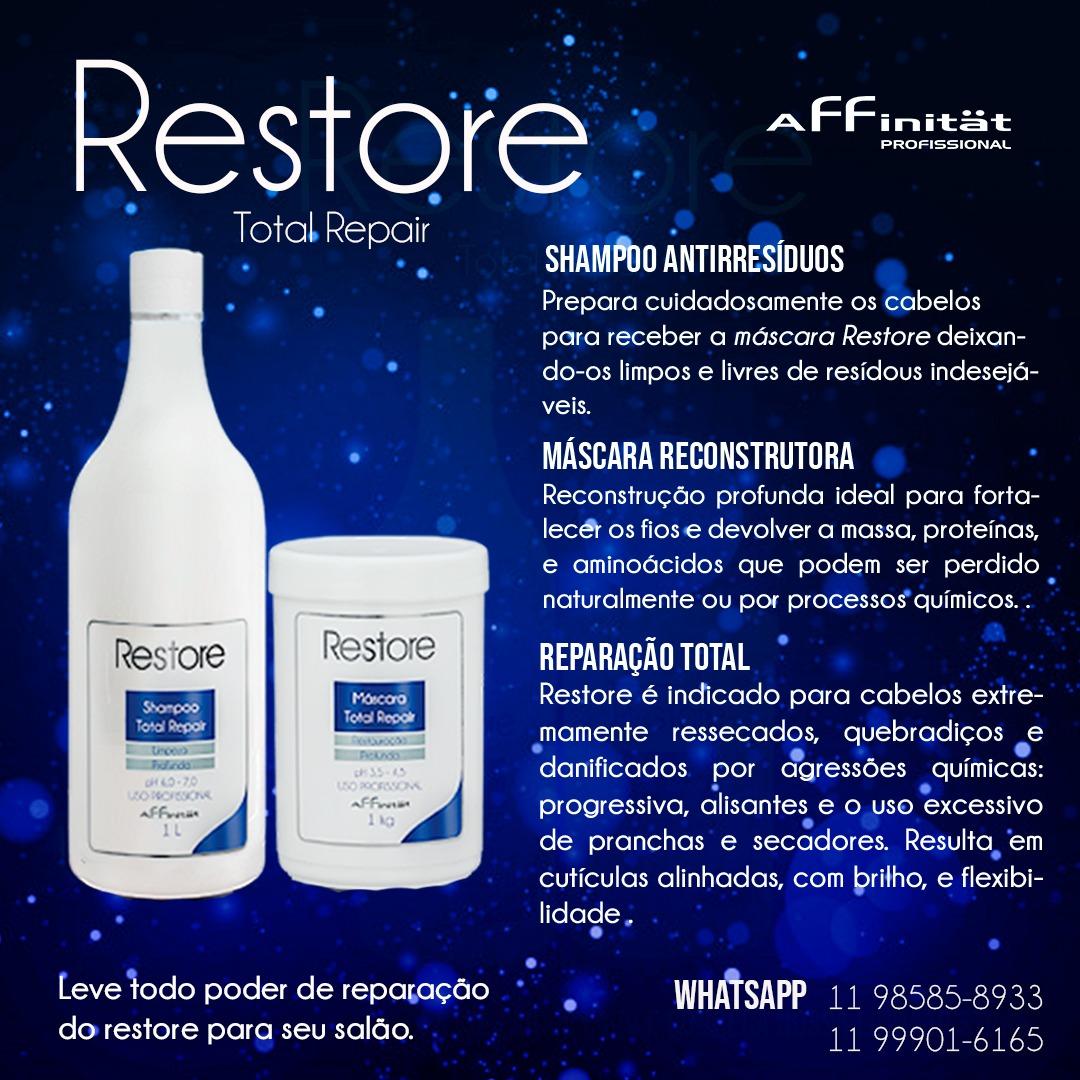 Kit Restore Restauração -Shampoo Restore 1L e  Mácara Restore - 1 Kg
