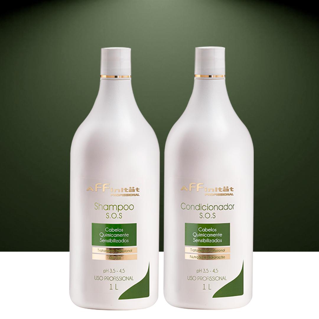 Kit S.O.S Pós Química  - Shampoo sem sal 1L e Condicionador  - 1L
