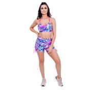 Shorts Empina Bumbum Meia Coxa Estampada Colorido Neon