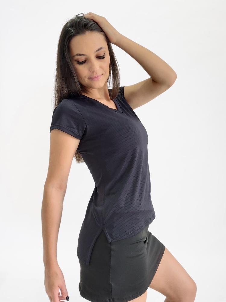 Blusa Decote V c/ Abertura Lateral Preta
