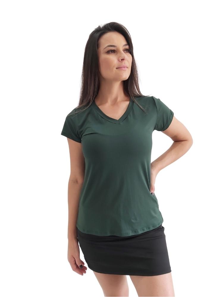 Blusa Decote V c/ Abertura Lateral Verde