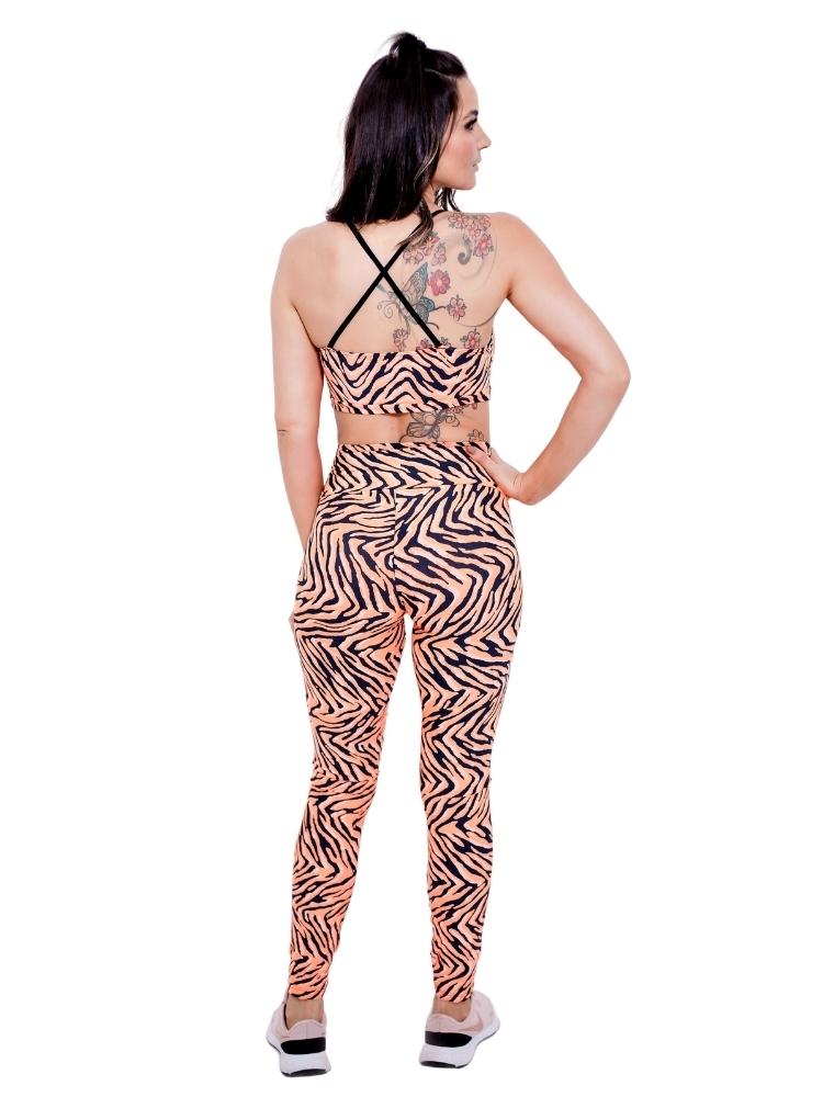 Legging Empina Bumbum Estampada Zebra Laranja