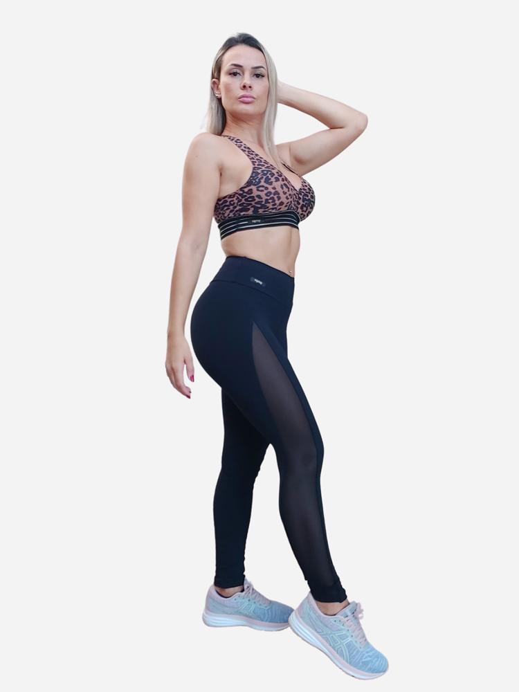Legging Lisa Montaria com Transparencia Lateral Preta