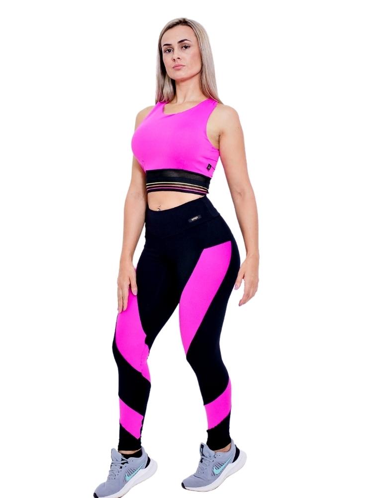 Legging Preta com Detalhe Rosa Neon