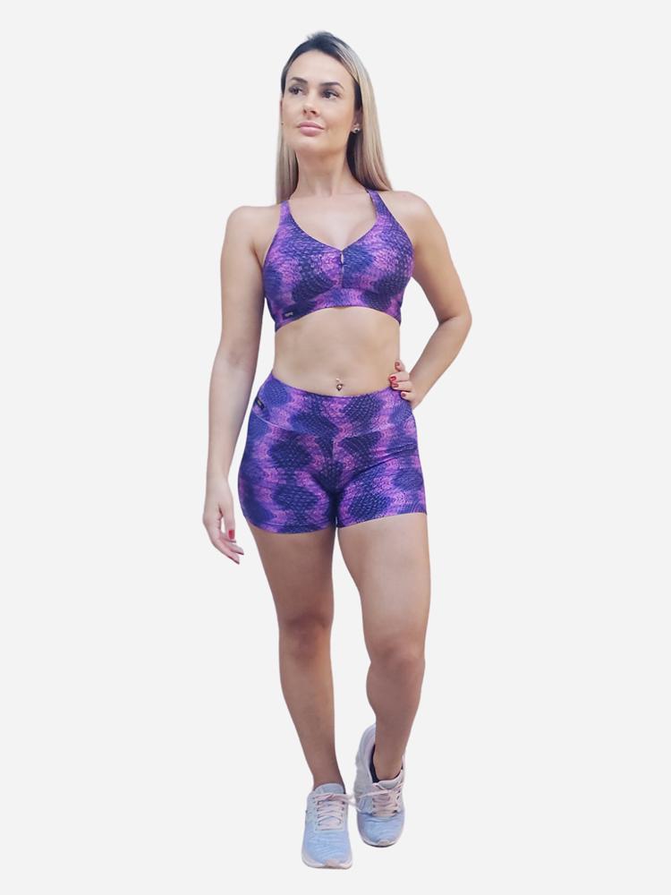 Shorts básico estampado roxo