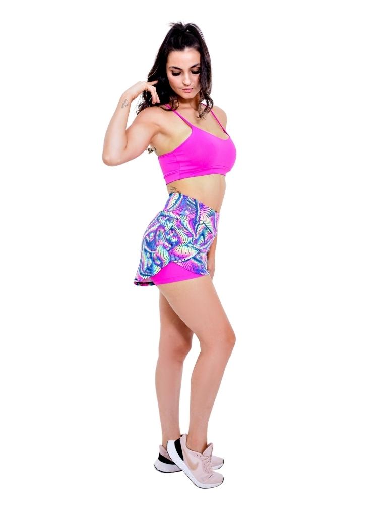 Shorts duplo corrida estampado colorido neon