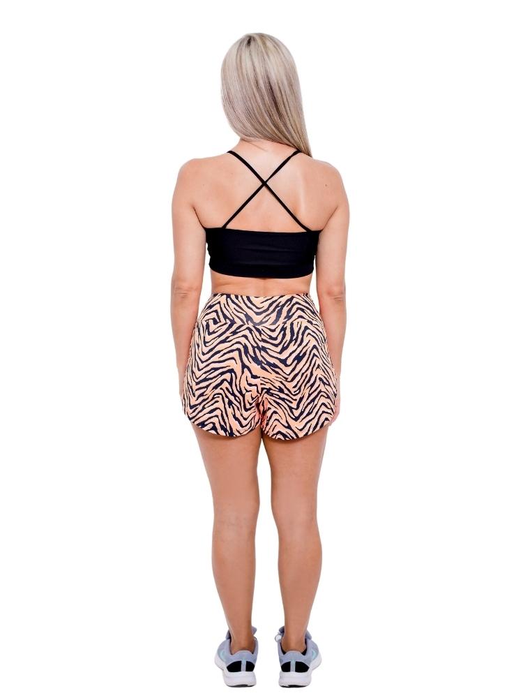 Shorts Duplo Corrida Estampado Zebra Laranja