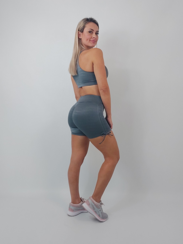 Shorts Empina Bumbum Diamante Chumbo