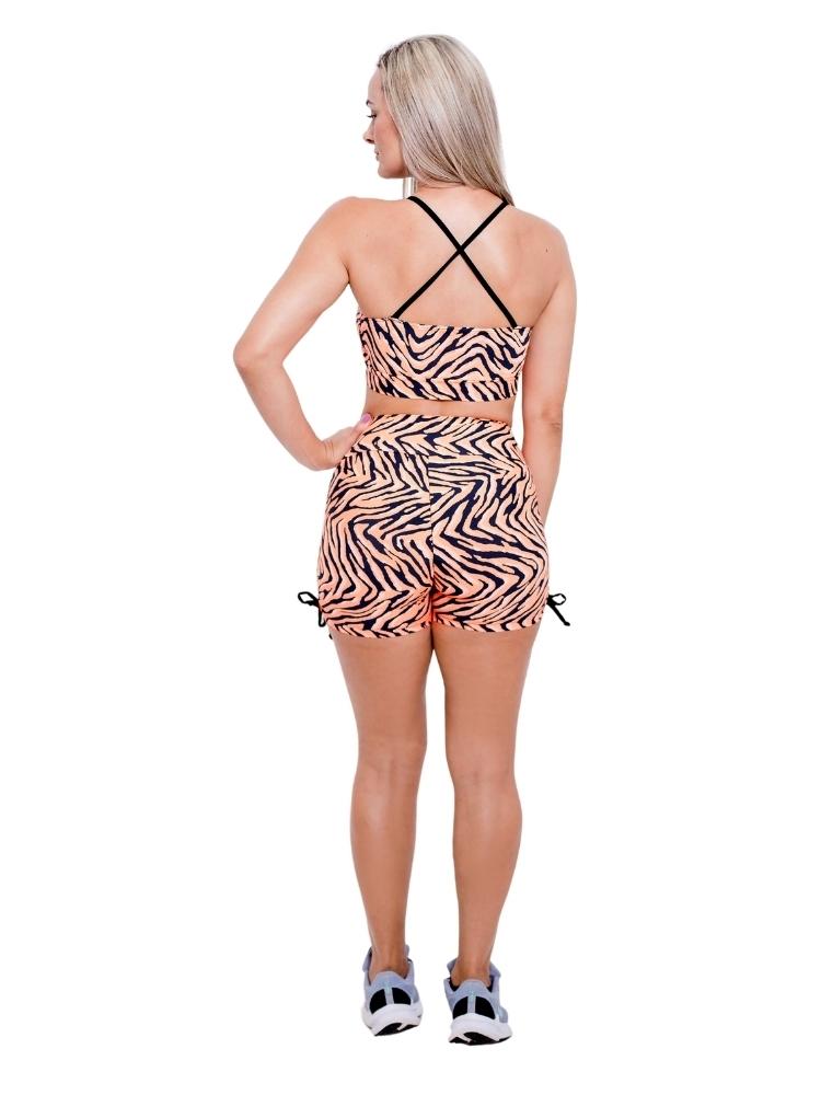 Shorts Empina Bumbum Meia Coxa Estampada Zebra Laranja