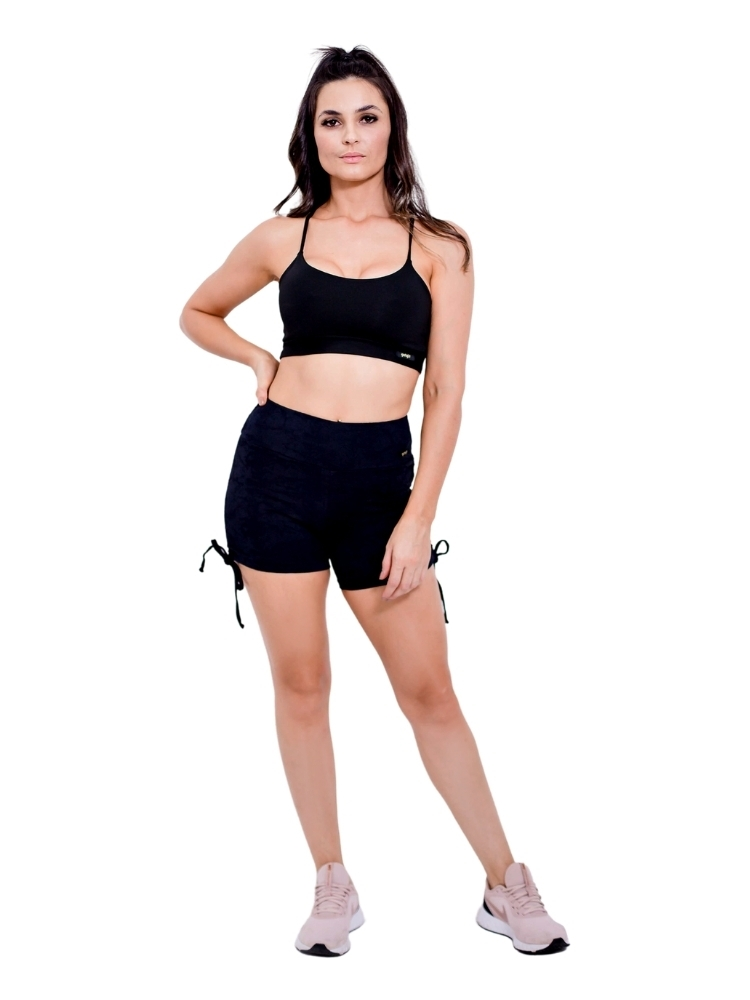 Shorts Jacquard Empina Bumbum Meia Coxa Preto