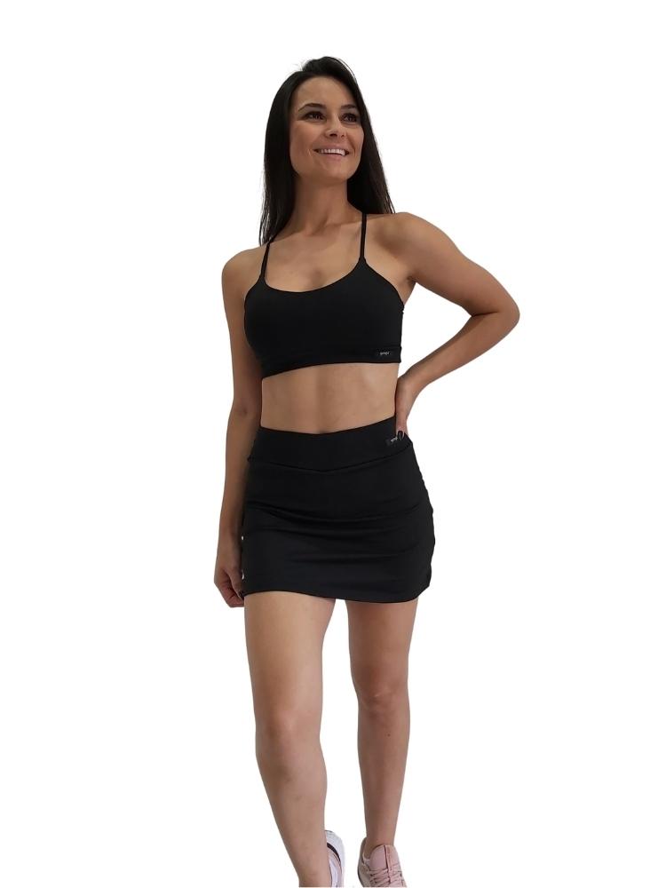 Shorts Saia Corte Reto Preto