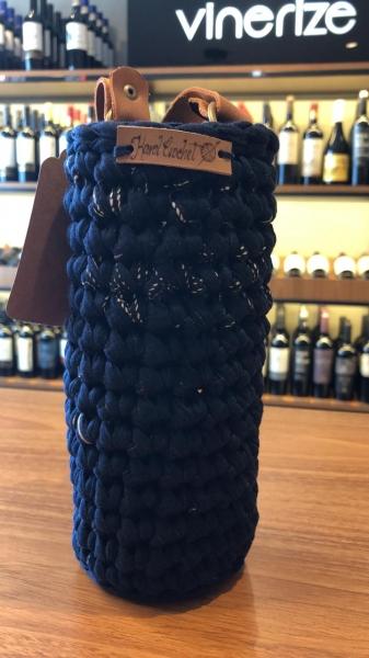 Porta Vinho Crochet Azul
