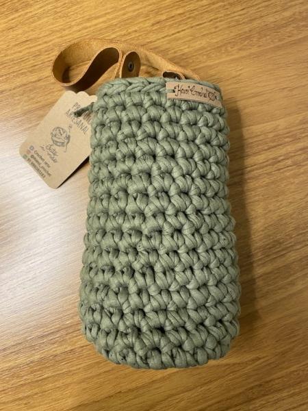 Porta Vinho Crochet Verde