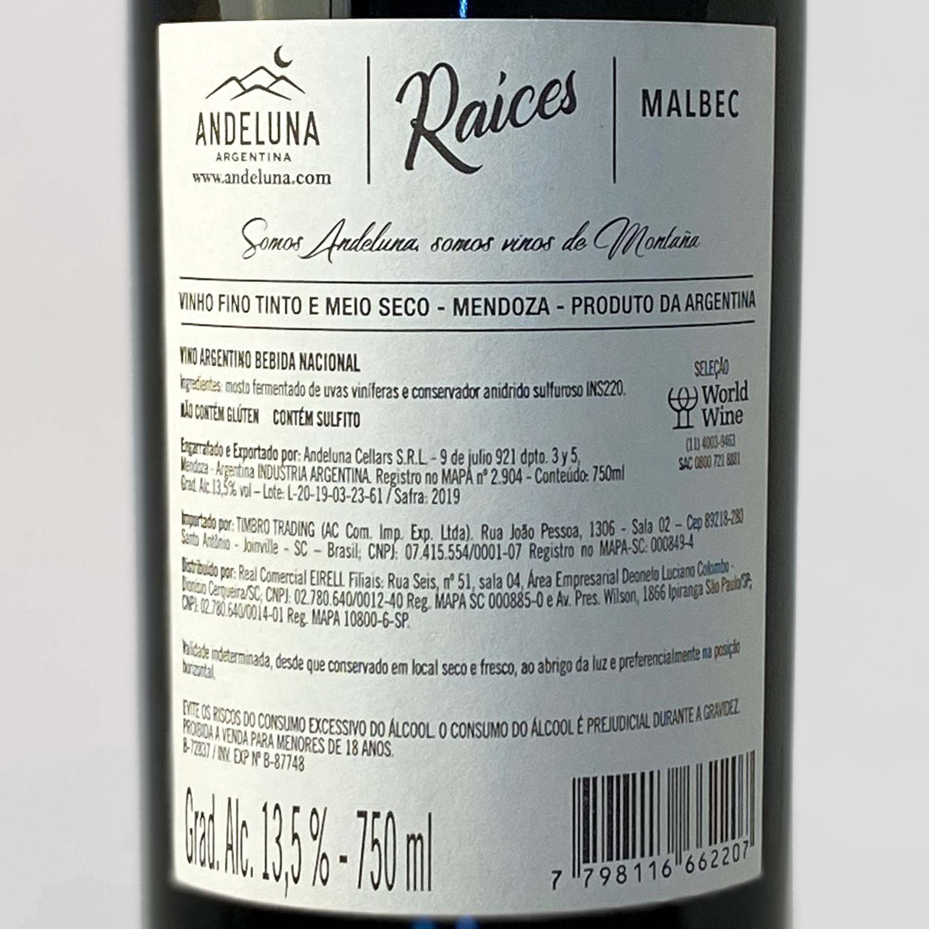 Andeluna Raíces - Malbec  - Vinerize