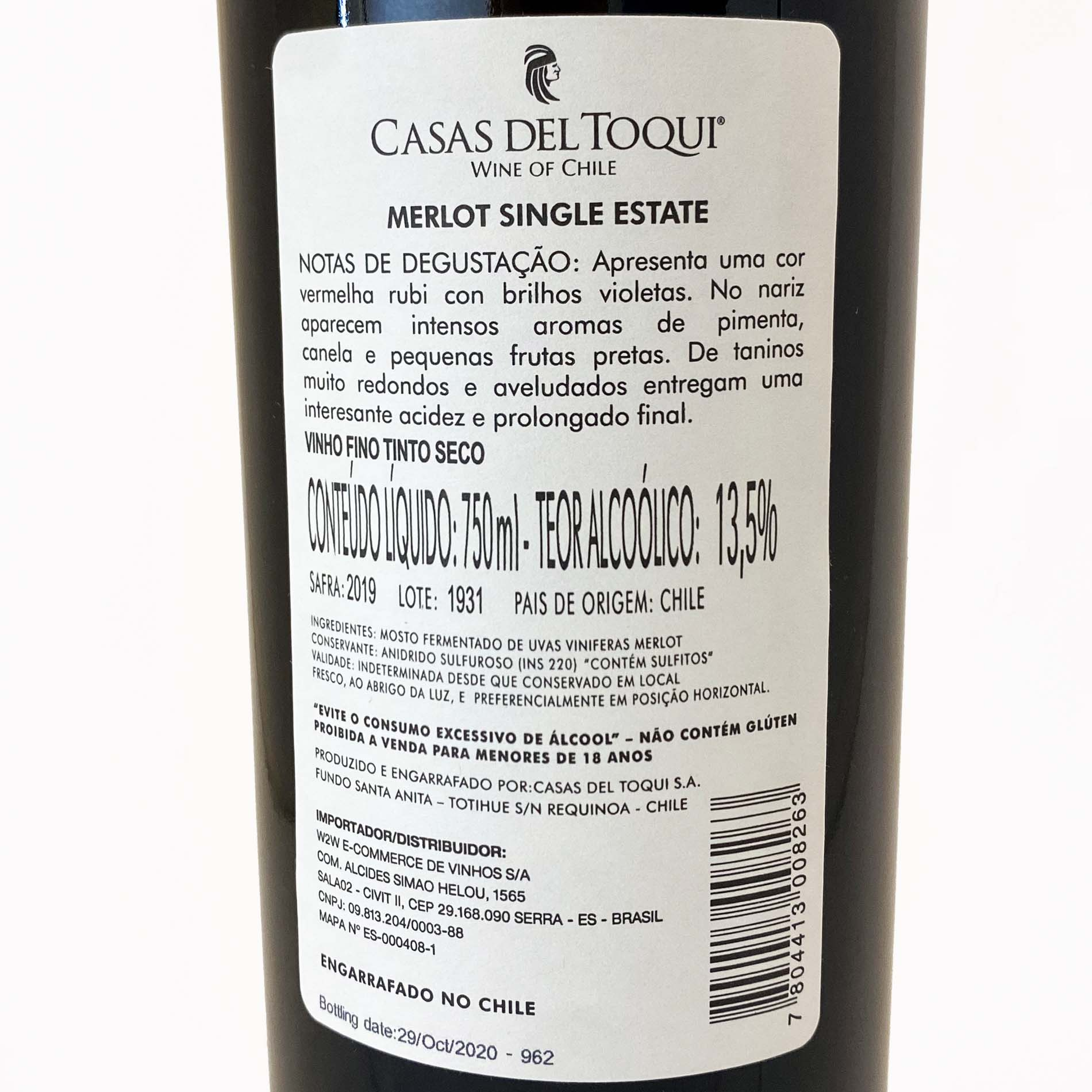 Casas Del Toqui Merlot  - Vinerize