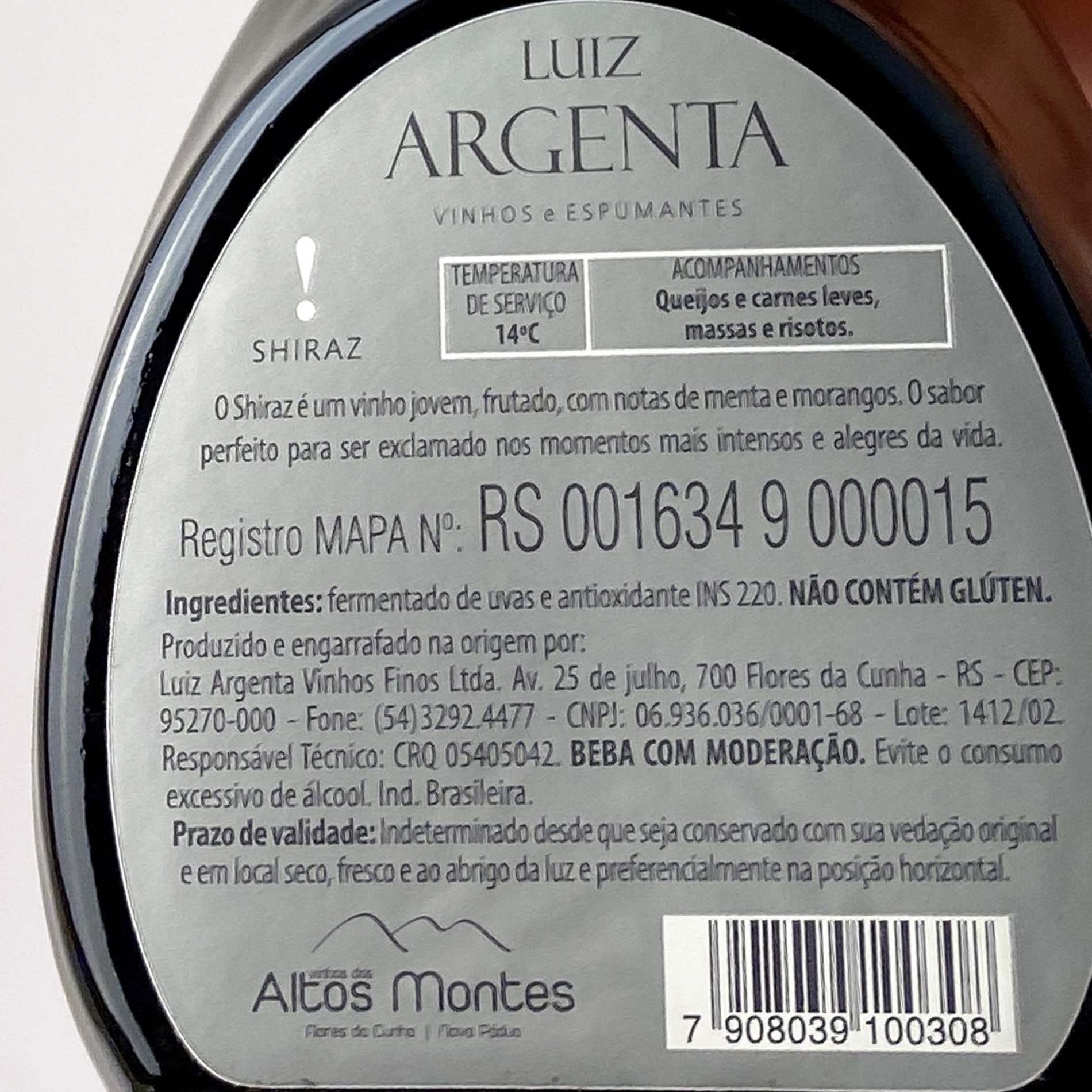 Luiz Argenta Shiraz Jovem (250 ml)  - Vinerize
