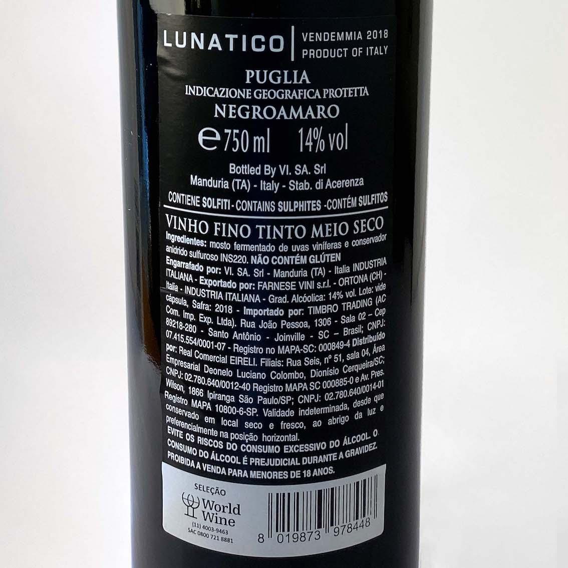 Lunatico Negroamaro Puglia IGP  - Vinerize