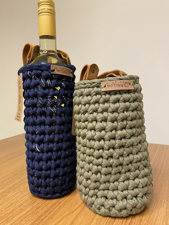 Porta Vinho Crochet Amarelo  - Vinerize
