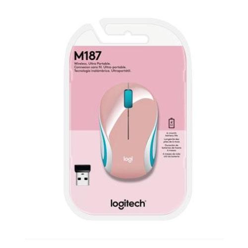 Mini Mouse Sem Fio Ultraportátil M187 Rosa