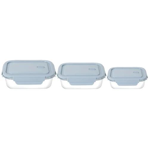 Conjunto de potes de vidro hermético refratário