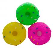 Brinquedo Mordedor Sonoro de Vinil para Cães Rosquinhas - Cores Sortidas